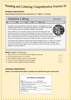 Interactive worksheet Reading and Listening Comprehension Practice 2a