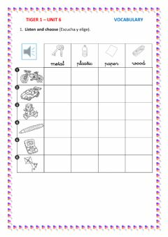 Interactive worksheet Materials