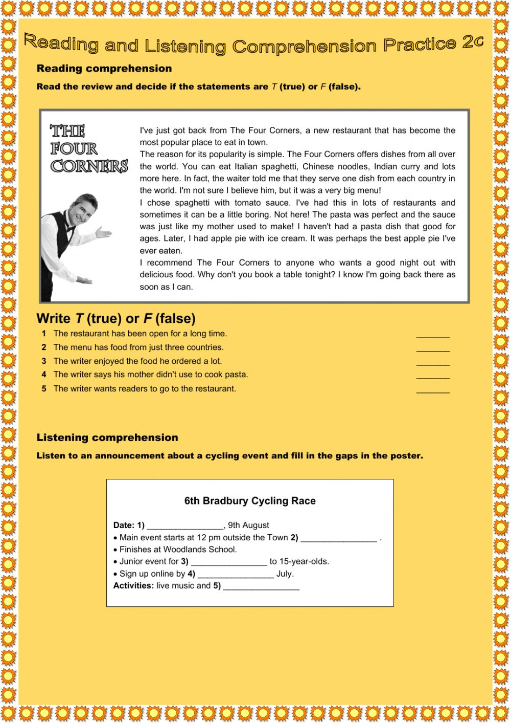 - Reading And Listening Comprehension Practice 2c - Interactive