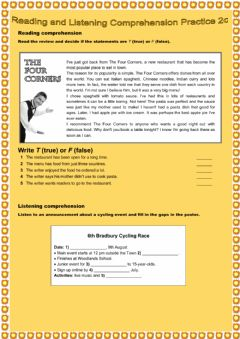 Interactive worksheet Reading and Listening Comprehension Practice 2c