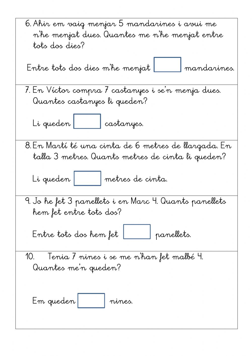 Problemes quinzet sèries 5.1-5.2 - Interactive worksheet