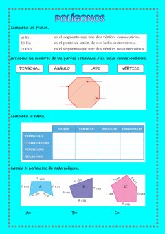 Interactive worksheet Polígonos