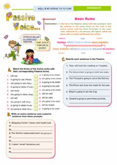 Interactive worksheet Passive voice - Will and Going to