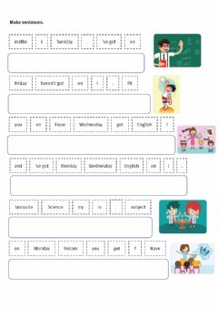 Interactive worksheet School subjects- Have got