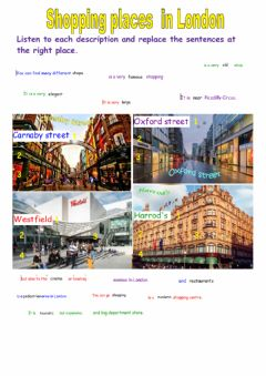 Interactive worksheet Shopping places in London
