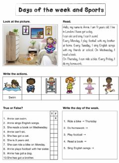 Interactive worksheet Days of the week and Sports