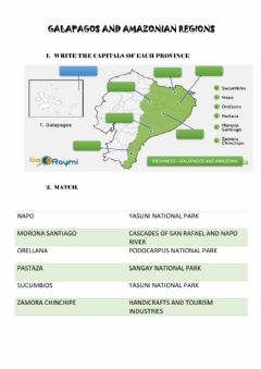 Ficha interactiva Galapagos and amazonia provinces