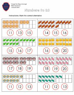 Interactive worksheet Numbers to 20