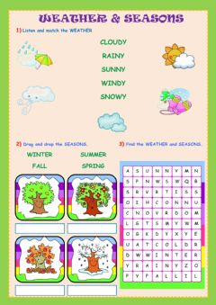 Interactive worksheet Weather and Seasons