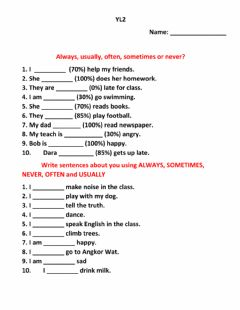 Interactive worksheet Frequency adverbs