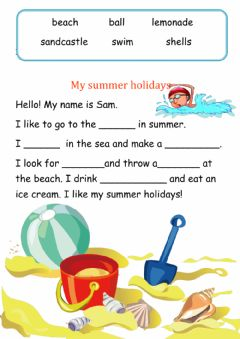 Interactive worksheet My summer holidays
