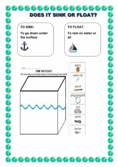 Ficha interactiva Water use. Sink or float