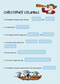 Interactive worksheet Christopher Columbus