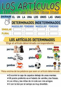 Interactive worksheet Los artículos determinados e indeterminados