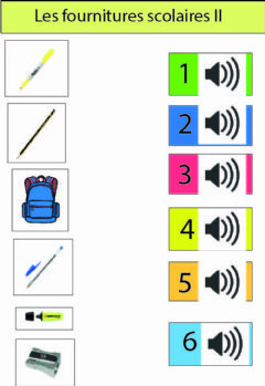 Interactive worksheet Les fournitures scolaires II
