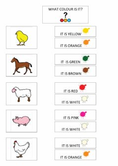 Interactive worksheet Farm animals: what colour is it?
