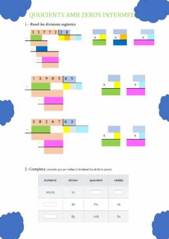 Interactive worksheet Quocients amb zeros intermedis