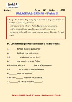 Interactive worksheet Palabras con H Ficha 2