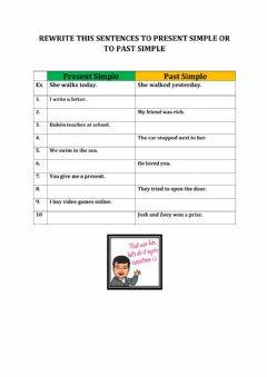 Interactive worksheet Present simple - Past simple