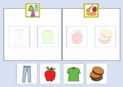 Interactive worksheet Classificare con aiuto visivo vestiti cibo