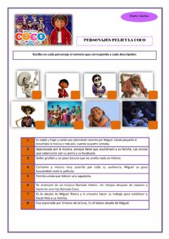 Interactive worksheet Película coco