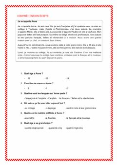 Interactive worksheet Compréhension écrite