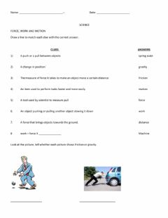 Interactive worksheet Force, Work and Motion