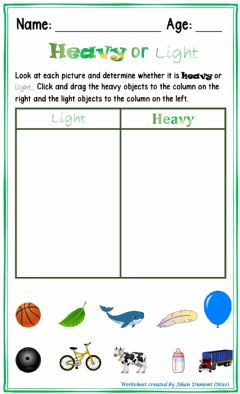 Interactive worksheet Heavy or Light