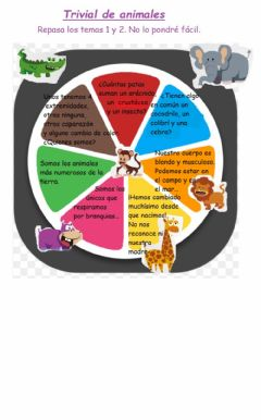 Interactive worksheet Trivial de animales