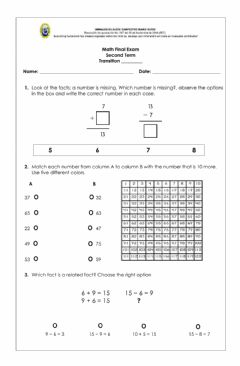 Interactive worksheet Math Exam Transition, second term