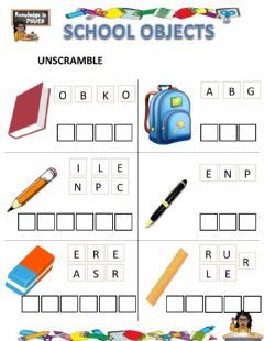 Interactive worksheet School objects (unscramble)