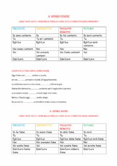 Interactive worksheet Verbo essere e avere