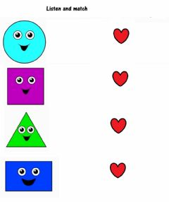 Interactive worksheet Listen and match shapes