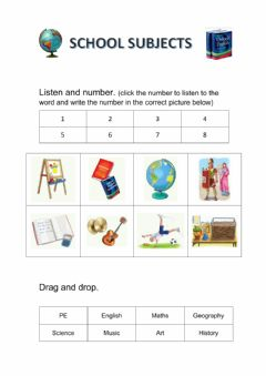 Interactive worksheet Subjects and time revision