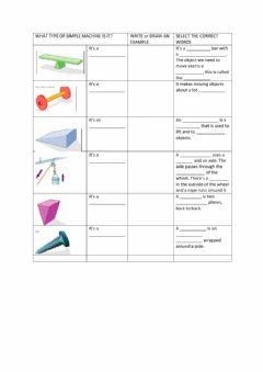 Interactive worksheet Simple Machines: Identify, Define, Match, Multiple Choice