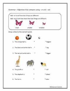 Interactive worksheet Comparing using -er and -est