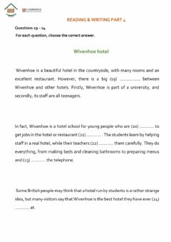 Interactive worksheet KET reading and writing part 4
