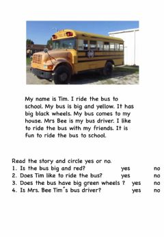 Ficha interactiva Reading -THE SCHOOL BUS-