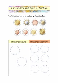 Interactive worksheet Las monedas de euro y de céntimo