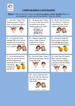 Interactive worksheet Comparar cantidades: problemas