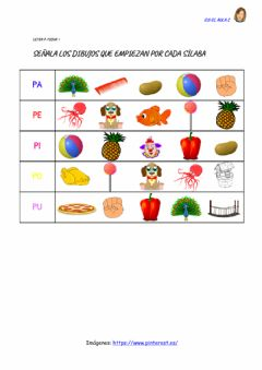 Interactive worksheet Letra p: ficha 1
