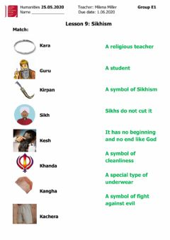 Interactive worksheet Sikhism