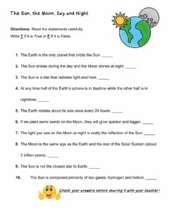 Interactive worksheet The Sun, The Moon, Day and Night