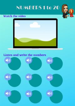 Interactive worksheet Numbers 1 to 20