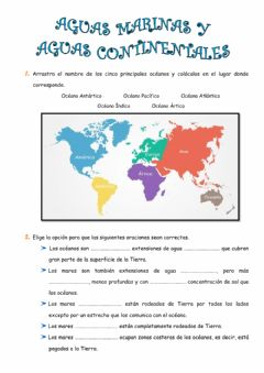 Interactive worksheet Aguas marinas y continentales