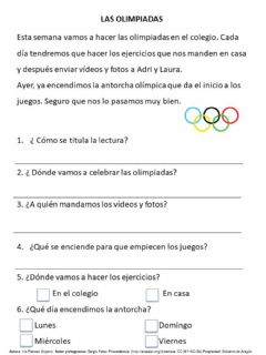 Interactive worksheet Las Olimpiadas