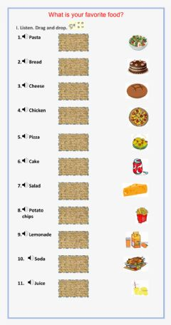 Interactive worksheet What is your  favorite food?