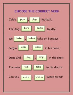 Ficha interactiva Subject and verb agreement