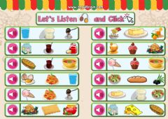 Interactive worksheet 4.10. Food and Drinks - Let's Listen and Click 1