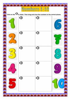 Interactive worksheet Numbers 1 - 10